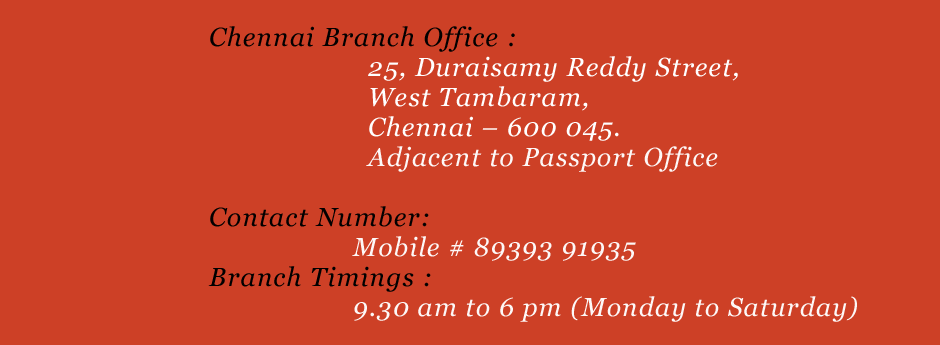 Contact details of our new branch in chennai